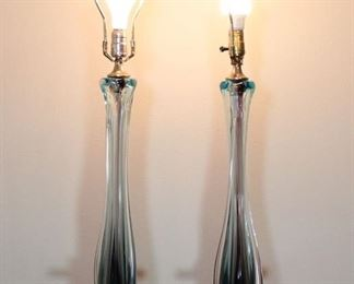 MID-CENTURY MODERN MURANO SOMMERSO GLASS LAMPS BY ARCHIMEDE SEGUSO VINTAGE $1000