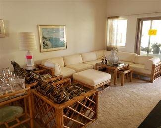 "all Living room furniture is ~mid-century~ ""Calif Asia"" Rattan"