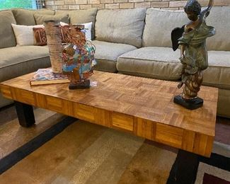 Super cool parquet wood coffee table.