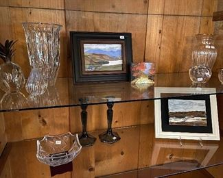 Waterford crystal, and original small paintings by Susie Henley.