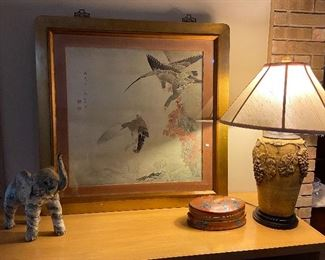 Nicely framed Asian print, grape design urn lamp.