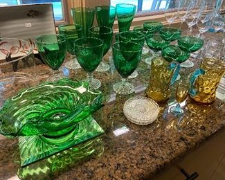 Colored glassware.