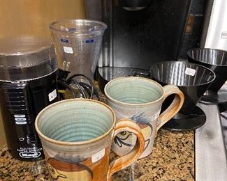 Keurig and coffee items.