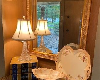 Beautiful crystal lamp, gilded gold framed mirror and painted china.