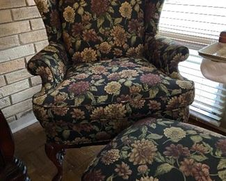 Wing back chair with matching ottoman