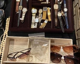 Sunglasses, men's and ladies' watches.