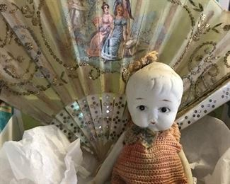 ANTIQUE BISQUE DOLL, 19TH.C. MOTHER OF PEARL FAN