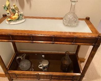 Drexel Heritage lighted underneath glass console table