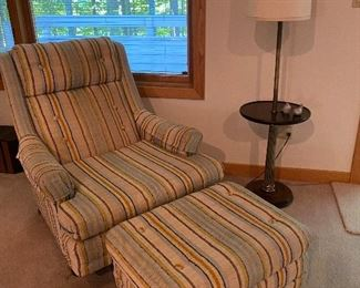 Vintage upholstered chair and ottoman. Very clean