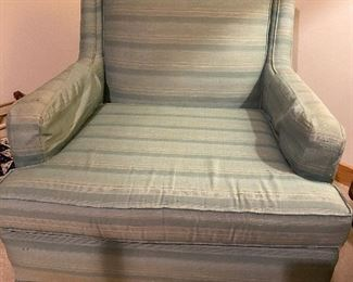 Pair of vintage Shaw custom silk upholstered chairs