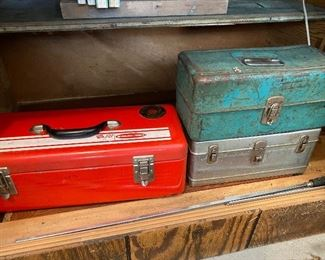 Vintage tool boxes with tools