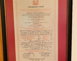 Vintage menu Charlie's Crab