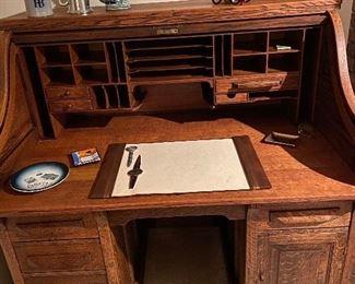 StunningAntique oak roll top desk
