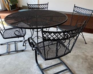Wrought iron patio table chairs