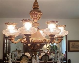 """Huge 6 arm chandelier, very heavy. Will require at least 2 people to remove. You must be comfortable removing this fixture. We will not assist in """"un-wiring"""" or taking down."""