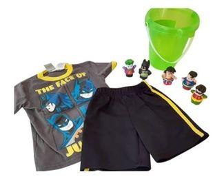 8. 2T Batman PJ Set wGreen Bucket 6 Super Heroes Toys
