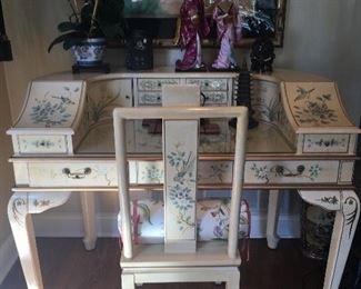 Oriental Lacquer Chinoiserie Demilune Desk $650