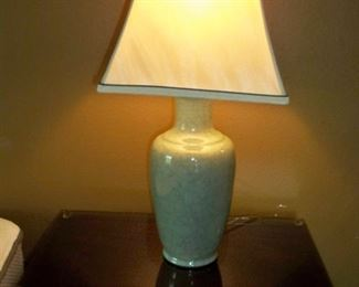 Pair of Celadon Style Crackle 3-way Lamps ( 1 Shown ), Price for Pair = $100.00
