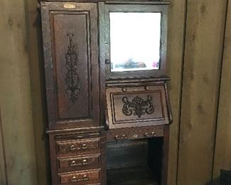 Dental cabinet has been in the family since late 1800's; grandparent of Mrs. Harry was a dentist in Ponotoc, MS  Manufactured by the Harvard Company of Canton, OH.