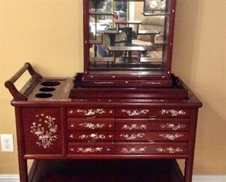 Asian Mother of Pearl Inlay Cabinet with Display Cabinet