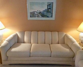 White Upholstered Couch and Loveseat