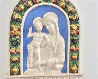 """Porcelain Cantagalli Firenze Wall Hanging, 19"""" H."""