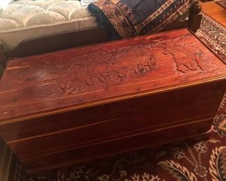 western themed  carved cedar chest-