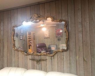 huge gold trimmed vintage mirror
