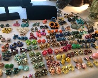 serious collection of retro/vintage clip -screw back earrings and other retro jewelry