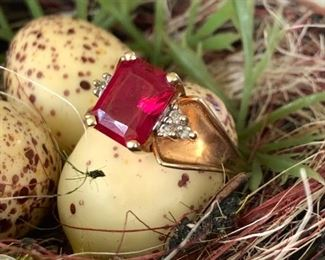I know y'all are used to ridiculous, dare I say humorous captions from me, but for the Jewelry at least I will just be giving information.  This is a 10K gold ring, ruby like stone has not been tested.  Size about a 10