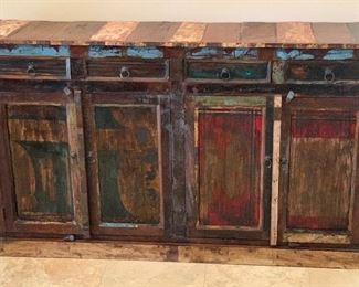 Old West Rustic Buffet/Sideboard  Cabinet Distressed Reclaimed wood	41x70x16.5in	HxWxD	AH101