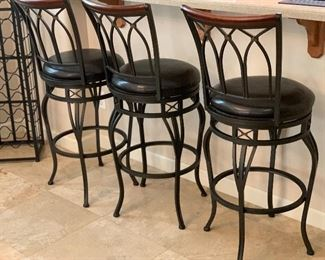 3pc 30in Iron/Leather/wood Swivel Counter Height Chairs Bar Stools	44x17x19in seat height: 30in	HxWxD	AH103