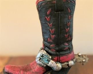 9.5in Resin Cowboy boot decor	9.5x10x4in	HxWxD	AH106