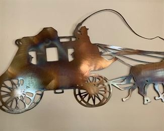 Artist Made Metal Art Stagecoach Silhouette Decor Flam Finish	16x59in Long		AH111