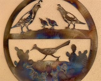 Quails & Roadrunner Silhouette Metal art wall hanging	30in Dia		AH133