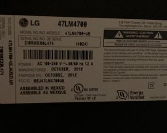 LG 47in 3D Cinema LED 1080p HDTV TV 47LM4700	29x43x10.5in (at base)	HxWxD	AH149