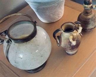 Glass W/Metal candle holder $8, Small ceramic vase $5, Small bottle decorative $5