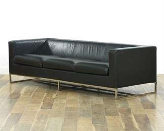 Modernist Leather Sofa W Chrome Finish Frame
