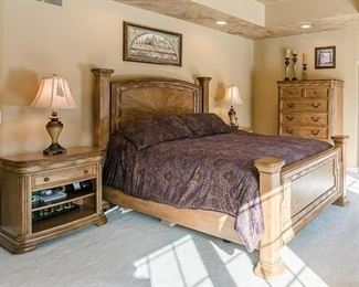 Queen Bedroom set includes bed (no mattress), 2 night stands, highboy and dresser w/ mirror