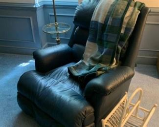 Navy Blue - ALL leather Ethan Allen recliner