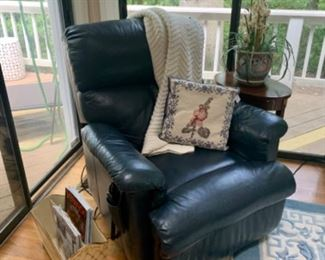 Navy Blue leather BarcaLounger...lifting chair/recliner