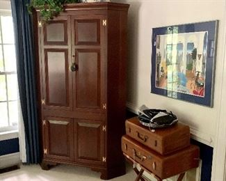 Corner Cabinet or Wardrobe...Antique luggage...Thomas McKnight art