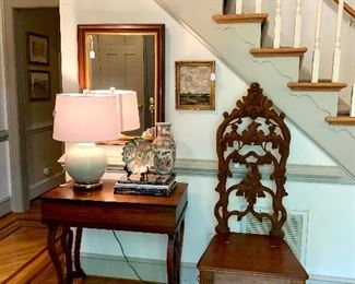 Carved maple chairs, Rose Medallion, Antique Desk...this place is awesome!