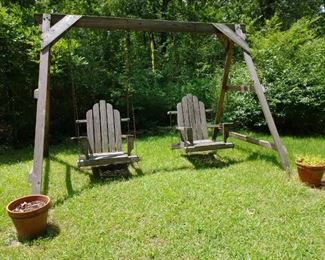 Outdoor wooden dual swing set