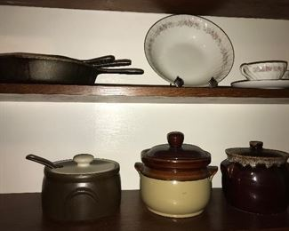 Cast iron skillets and other kitchen ware items