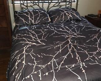 Queen size metal bed with mattress
