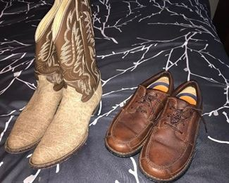 Justin boots size 10 men and Docker shoes
