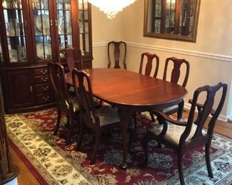 $3,000  - Henkel Harris Dining room set - Table, Chairs, and China Cabinet