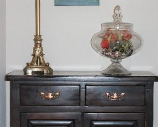 """Vintage Solid Wood 2-Door/Drawer Small Credenza  (32""""W x 29""""H x 13""""D) Shown with a gold/Silver Leaf Candlestick Lamp (33.5""""H) and Large Glass Apothecary Lidded Pedestal Urn (11""""D x 15.5""""H)"""