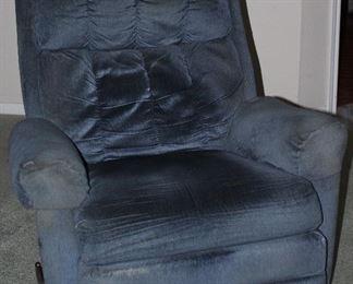 Large Blue Corded Upholstered Rocker/Swivel Recliner
